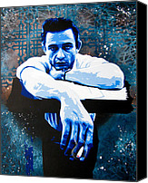Johnny Cash Canvas Prints - Cash - Preacher Man Canvas Print by Bobby Zeik