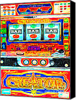 Antiques Digital Art Canvas Prints - Casino Slot Machine . One Arm Bandit . Triple Bar Bonus Jack Pot Canvas Print by Wingsdomain Art and Photography