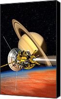 Planetary Canvas Prints - Cassini-huygens Probe At Titan, Artwork Canvas Print by David Ducros