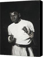 Black And White Pastels Canvas Prints - Cassius Clay Canvas Print by L Cooper