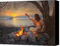 Shore Painting Canvas Prints - Cast Your Nets on the Right Side Canvas Print by Greg Olsen