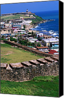 Puerto Rico Canvas Prints - Castillo San Felipe Del Morro Overlooking Coastline, San Juan, Puerto Rico Canvas Print by John Elk III