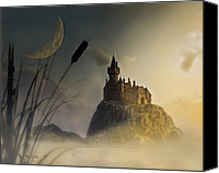 Storybook Mixed Media Canvas Prints - Castle in the mist Canvas Print by Bob Orsillo