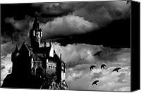 Black And White Canvas Prints - Castle in the sky Canvas Print by Bob Orsillo