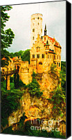 Middle Ages Digital Art Canvas Prints - Castle in The Sky . Long Cut Canvas Print by Wingsdomain Art and Photography
