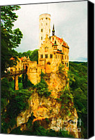Middle Ages Digital Art Canvas Prints - Castle in The Sky Canvas Print by Wingsdomain Art and Photography