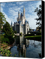 Disney Canvas Prints - Castle Reflections Canvas Print by Nora Martinez