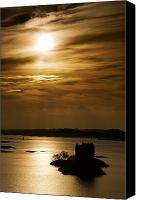 Tourist Attraction Canvas Prints - Castle Stalker At Sunset, Loch Laich Canvas Print by John Short