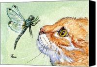 Aceo Canvas Prints - Cat and Dragonfly  Canvas Print by Svetlana Ledneva-Schukina