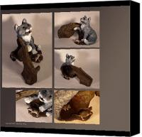 Nature Sculpture Canvas Prints - Cat and Mice alternate views Canvas Print by Katherine Howard