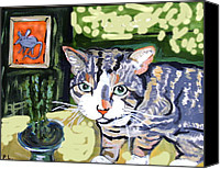 Cats Ceramics Canvas Prints - Cat And Mouse Friends Canvas Print by Patricia Lazar