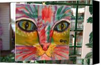 Cat Glass Art Canvas Prints - Cat Art on Tile Canvas Print by Carl Purcell