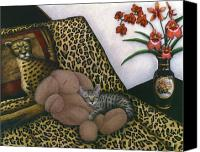 Cheetah Painting Canvas Prints - Cat Cheetahs Bed Canvas Print by Carol Wilson