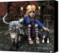 3d Graphic Canvas Prints - Cat Girl Canvas Print by Jutta Maria Pusl