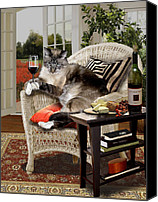 Photo-realism Canvas Prints - Cat happy hour Canvas Print by Gina Femrite