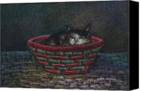 Cats Pastels Canvas Prints - Cat In A Basket Canvas Print by Arline Wagner