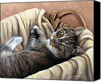 Animal Pastels Canvas Prints - Cat in a Basket Canvas Print by Susan Jenkins
