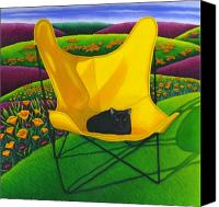Rolling Hills Canvas Prints - Cat in Butterfly Chair Canvas Print by Carol Wilson