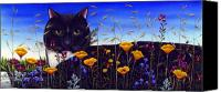 Poppies Canvas Prints - Cat in Flower Field Canvas Print by Carol Wilson
