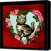 Fauna Painting Canvas Prints - Cat In Heart Wreath 2 Canvas Print by Genevieve Esson
