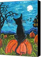 Haunted House Canvas Prints - Cat in Pumpkin Patch Canvas Print by Paintings by Gretzky