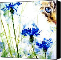 Tabby Painting Canvas Prints - Cat in the cornflowers Canvas Print by Paul Lovering