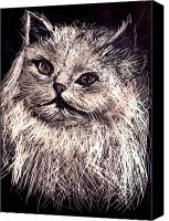 Cats Reliefs Canvas Prints - Cat life Canvas Print by Leonor Shuber