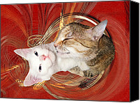 Kitten Greeting Card Digital Art Canvas Prints - Cat Mother Love Canvas Print by Zsuzsa Balla