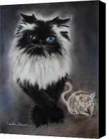 Cats Pastels Canvas Prints - Cat n Mouse Say CHEEEEEEESE Canvas Print by Carla Carson