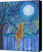 Tabby  Painting Canvas Prints - Cat on a Fence in the moonlight Canvas Print by Paintings by Gretzky