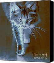 Abstract Cat Portrait Canvas Prints - Cat Walking Canvas Print by Ben and Raisa Gertsberg