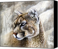 Lion Painting Canvas Prints - Catamount Canvas Print by Sandi Baker
