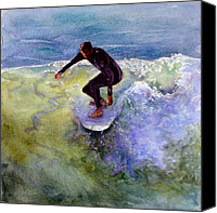 San Clemente Painting Canvas Prints - Catch a Wave Canvas Print by Bonnie Rinier