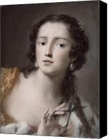 Hairstyle Painting Canvas Prints - Caterina Sagredo Barbarigo as Bernice Canvas Print by Rosalba Giovanna Carriera
