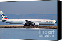 Airways Canvas Prints - Cathay Pacific Airlines Jet Airplane At San Francisco International Airport SFO . 7D11882 Canvas Print by Wingsdomain Art and Photography