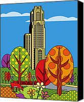 Park Digital Art Canvas Prints - Cathedral of Learning Canvas Print by Ron Magnes