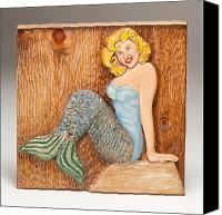 Wood Reliefs Canvas Prints - Catherine the Mermaid Canvas Print by James Neill