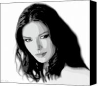 Hair Canvas Prints - Catherine Zeta Jones 4 Canvas Print by Jim Belin