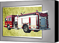 Transportation Ceramics Canvas Prints - Catoosa Fire Engine 4 Canvas Print by Linda Deal