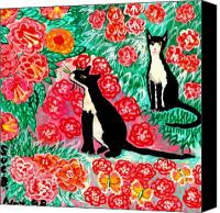Cats Ceramics Canvas Prints - Cats and Roses Canvas Print by Sushila Burgess
