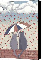 Cats Reliefs Canvas Prints - Cats in Love Canvas Print by Anne Gifford