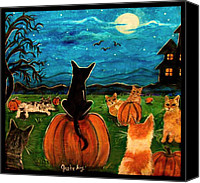 Tabby  Painting Canvas Prints - Cats in pumpkin patch Canvas Print by Paintings by Gretzky