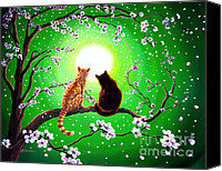 Asian Canvas Prints - Cats on a Spring Night Canvas Print by Laura Iverson