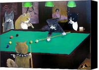 Cigars Canvas Prints - Cats Playing Pool Canvas Print by Gail Eisenfeld