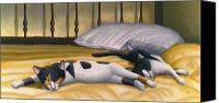 Big Painting Canvas Prints - Cats Sleeping on Big Bed Canvas Print by Carol Wilson