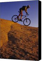 Biking Canvas Prints - Caucasian Male Mountain Biking Canvas Print by Bobby Model