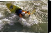Sports Photo Canvas Prints - Caucasian Man Kayaking The Shoshone Canvas Print by Bobby Model