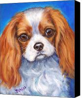 Cavs Canvas Prints - Cavalier King Charles Spaniel Blenheim on Blue Canvas Print by Dottie Dracos