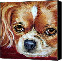 Dog Painting Canvas Prints - Cavalier King Charles Spaniel Canvas Print by Enzie Shahmiri
