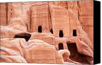 Old Wall Canvas Prints - Cave dwellings Petra. Canvas Print by Jane Rix